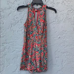 Charlotte Russe red paisley romper xs